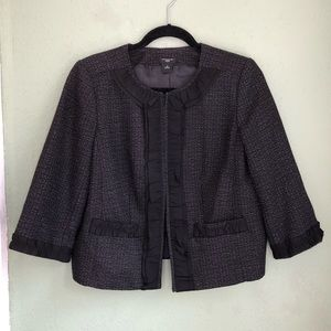 Ann Taylor Cropped Tweed Blazer w/Ribbon Detail